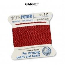 Griffin® NylonPower siūlas (1 adata) dydis 12 (0.98mm) Garnet (2m)