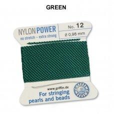 Griffin® NylonPower siūlas (1 adata) dydis 12 (0.98mm) Green (2m)