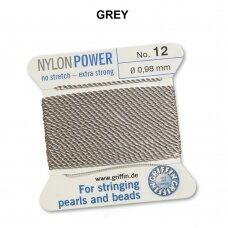 Griffin® NylonPower siūlas (1 adata) dydis 12 (0.98mm) Grey (2m)