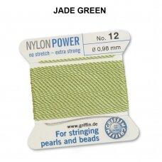 Griffin® NylonPower siūlas (1 adata) dydis 12 (0.98mm) Jade Green (2m)