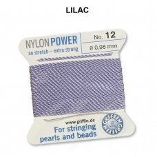 Griffin® NylonPower siūlas (1 adata) dydis 12 (0.98mm) Lilac (2m)