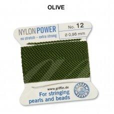 Griffin® NylonPower siūlas (1 adata) dydis 12 (0.98mm) Olive (2m)