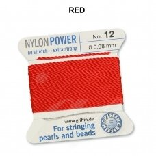 Griffin® NylonPower siūlas (1 adata) dydis 12 (0.98mm) Red (2m)