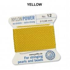 Griffin® NylonPower siūlas (1 adata) dydis 12 (0.98mm) Yellow (2m)