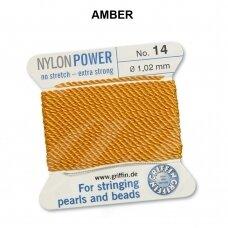 Griffin® NylonPower siūlas (1 adata) dydis 14 (1.02mm) Amber (2m)