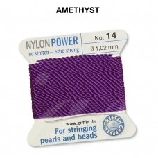 Griffin® NylonPower siūlas (1 adata) dydis 14 (1.02mm) Amethyst (2m)