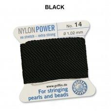 Griffin® NylonPower siūlas (1 adata) dydis 14 (1.02mm) Black (2m)