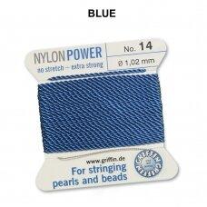 Griffin® NylonPower siūlas (1 adata) dydis 14 (1.02mm) Blue (2m)