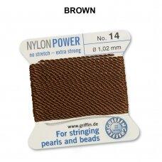 Griffin® NylonPower siūlas (1 adata) dydis 14 (1.02mm) Brown (2m)
