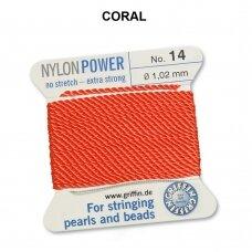 Griffin® NylonPower siūlas (1 adata) dydis 14 (1.02mm) Coral (2m)