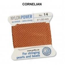 Griffin® NylonPower siūlas (1 adata) dydis 14 (1.02mm) Cornelian (2m)