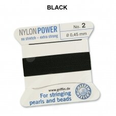 Griffin® NylonPower siūlas (1 adata) dydis 2 (0.45mm) Black (2m)