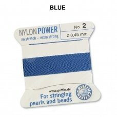 Griffin® NylonPower siūlas (1 adata) dydis 2 (0.45mm) Blue (2m)