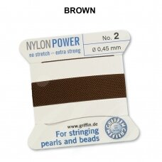 Griffin® NylonPower siūlas (1 adata) dydis 2 (0.45mm) Brown (2m)