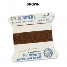 Griffin® NylonPower siūlas (1 adata) dydis 3 (0.50mm) Brown (2m)