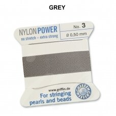 Griffin® NylonPower siūlas (1 adata) dydis 3 (0.50mm) Grey (2m)
