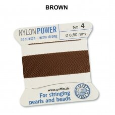 Griffin® NylonPower siūlas (1 adata) dydis 4 (0.60mm) Brown (2m)