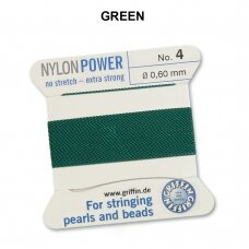 Griffin® NylonPower siūlas (1 adata) dydis 4 (0.60mm) Green (2m)