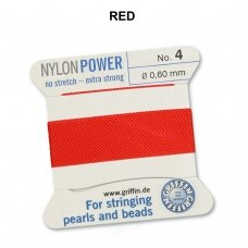 Griffin® NylonPower siūlas (1 adata) dydis 4 (0.60mm) Red (2m)