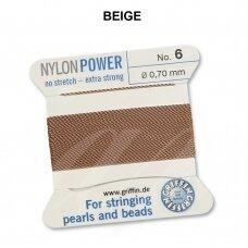 Griffin® NylonPower siūlas (1 adata) dydis 6 (0.70mm) Beige (2m)