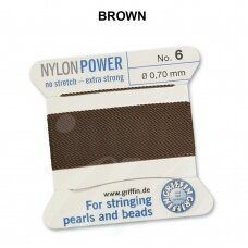 Griffin® NylonPower siūlas (1 adata) dydis 6 (0.70mm) Brown (2m)