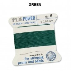 Griffin® NylonPower siūlas (1 adata) dydis 6 (0.70mm) Green (2m)