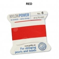 Griffin® NylonPower siūlas (1 adata) dydis 6 (0.70mm) Red (2m)