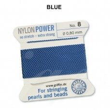 Griffin® NylonPower siūlas (1 adata) dydis 8 (0.80mm) Blue (2m)