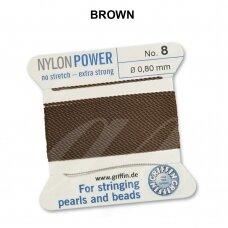 Griffin® NylonPower siūlas (1 adata) dydis 8 (0.80mm) Brown (2m)