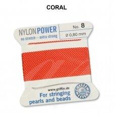 Griffin® NylonPower siūlas (1 adata) dydis 8 (0.80mm) Coral (2m)