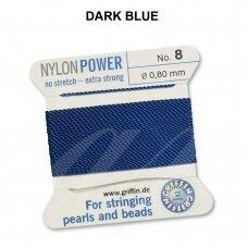 Griffin® NylonPower siūlas (1 adata) dydis 8 (0.80mm) Dark Blue (2m)