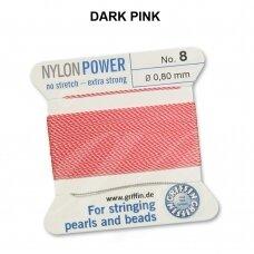 Griffin® NylonPower siūlas (1 adata) dydis 8 (0.80mm) Dark Pink (2m)