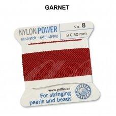 Griffin® NylonPower siūlas (1 adata) dydis 8 (0.80mm) Garnet (2m)