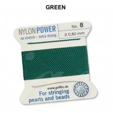 Griffin® NylonPower siūlas (1 adata) dydis 8 (0.80mm) Green (2m)