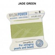 Griffin® NylonPower siūlas (1 adata) dydis 8 (0.80mm) Jade Green (2m)