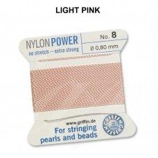 Griffin® NylonPower siūlas (1 adata) dydis 8 (0.80mm) Light Pink (2m)
