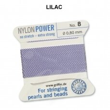 Griffin® NylonPower siūlas (1 adata) dydis 8 (0.80mm) Lilac (2m)