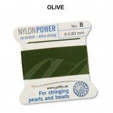 Griffin® NylonPower siūlas (1 adata) dydis 8 (0.80mm) Olive (2m)