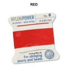 Griffin® NylonPower siūlas (1 adata) dydis 8 (0.80mm) Red (2m)