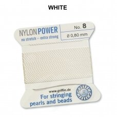 Griffin® NylonPower siūlas (1 adata) dydis 8 (0.80mm) White (2m)