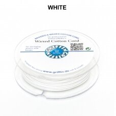 Griffin® Waxed Cotton Cord 1.5mm diameter White (20m)
