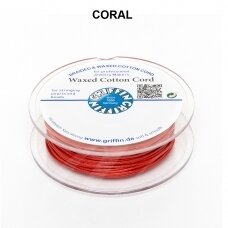 Griffin® Waxed Cotton Cord 1mm diameter Coral (20m)