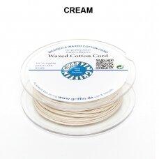 Griffin® vaškuota medvilninė virvelė 1mm diametro Cream (20m)