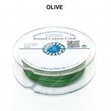 Griffin® vaškuota medvilninė virvelė 1mm diametro Olive (20m)