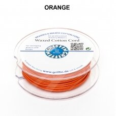 Griffin® Waxed Cotton Cord 1mm diameter Orange (20m)