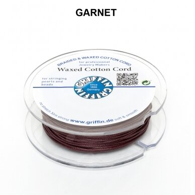 Griffin® Waxed Cotton Cord 1mm diameter Garnet (20m)