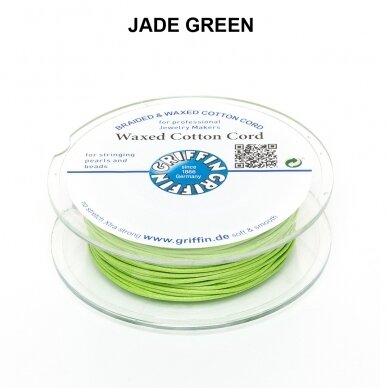 Griffin® Waxed Cotton Cord 1mm diameter Jade Green (20m)