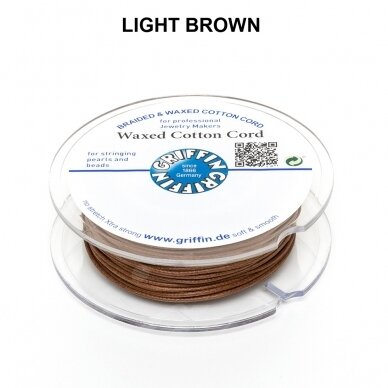 Griffin® Waxed Cotton Cord 1mm diameter Light Brown (20m)