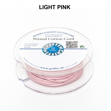 Griffin® Waxed Cotton Cord 1mm diameter Light Pink (20m)