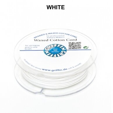 Griffin® Waxed Cotton Cord 1mm diameter White (20m)
